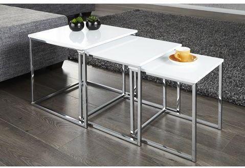 Set de 3 Tables Gigognes blanc
