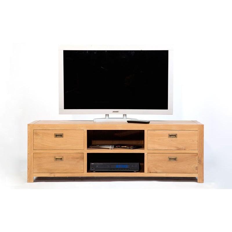 Zago meuble tv teck lin 2 niches 2 tiroirs cosmopolitan for Meuble tv teck