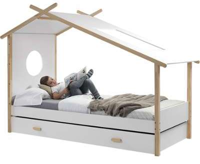 lit cabane 90x200 cm sommier. Black Bedroom Furniture Sets. Home Design Ideas