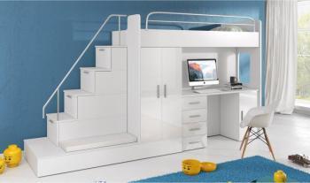 Lit mezzanine avec escalier