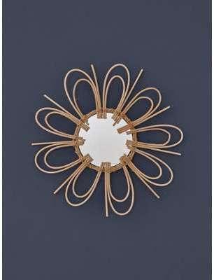 Miroir fleur en rotin naturel