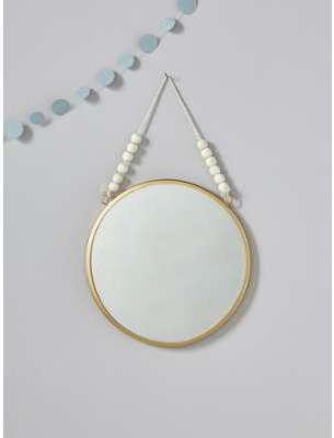 Miroir rond avec perles en