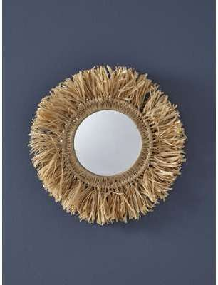Miroir franges en raphia naturel