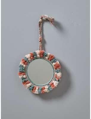 Miroir à pompons tricolores
