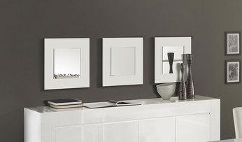 Lot de 3 miroirs blanc laqué