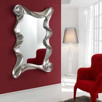 Miroir mural gris argent laqué