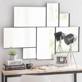 Miroir en métal noir H 123