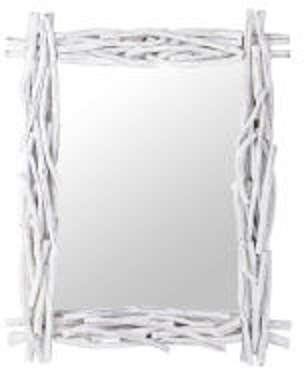Miroir blanc en rotin H 115