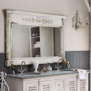 Miroir en bois blanc H 97