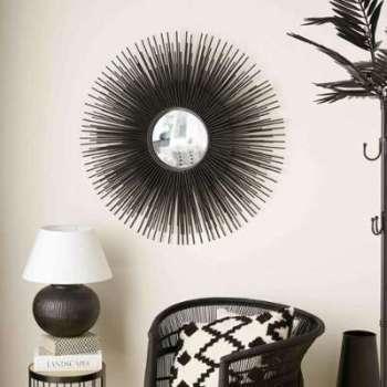 Miroir rond en métal noir