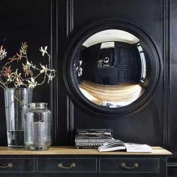 Miroir convexe en bois noir
