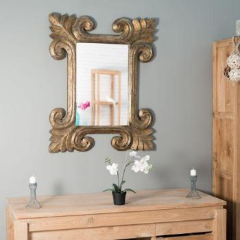 Miroir Tolède en bois patiné