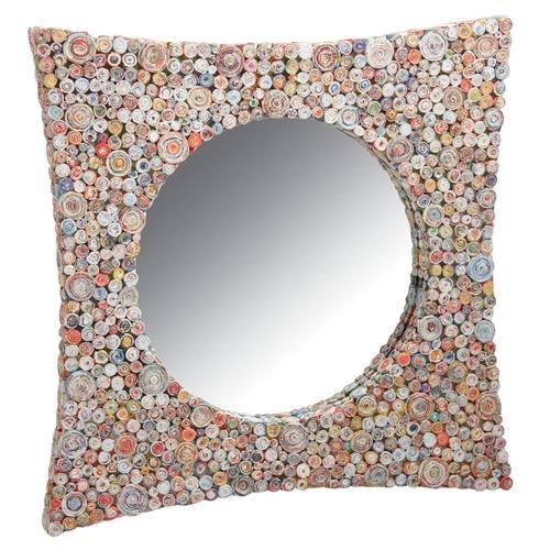 Miroir carré incurvé en papier