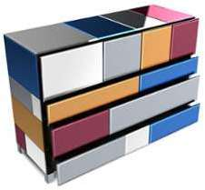 Commode miroirs multicolores