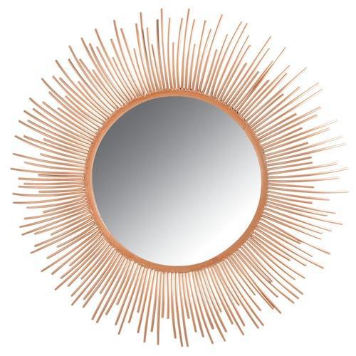 Miroir rond en métal cuivré