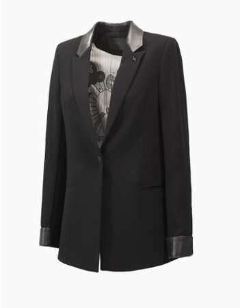 Veste tailleur col cuir d 14e907d416a