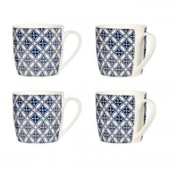 Set de 4 Mugs Fleurs Bleues