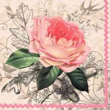 Serviettes Papier Rose Ancienne