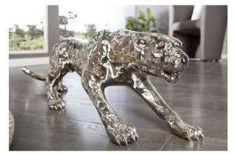 Sculpture léopard argentée