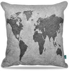 Coussin design carte du monde