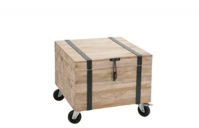 Coffre sur roues carré bois