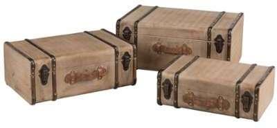 Set de 3 valises en bois et