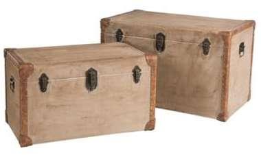 Set 2 coffres bois lin beige