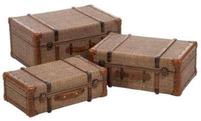 Lot De 3 Coffres Rotin Antique