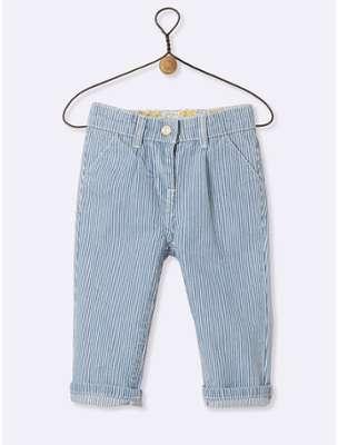 Pantalon rayé bébé rayé bleu