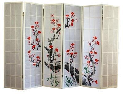 Paravent bois blanc avec fleurs