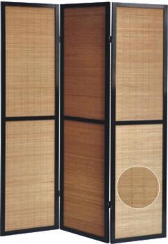 Paravent en bois noir et bambou