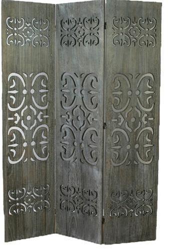 Paravent bois gris avec sculptures