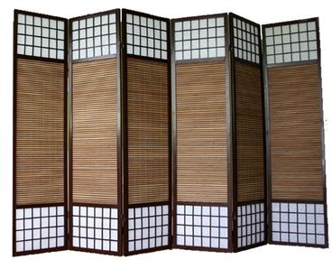 Paravent bois et bambou brun