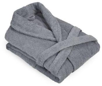 Peignoir col châle uni gris