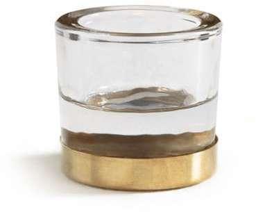 Bougeoir en verre et métal
