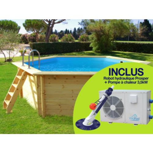 Piscine en bois gre hawai kitnpov611 for Liner piscine 4 60 1 20