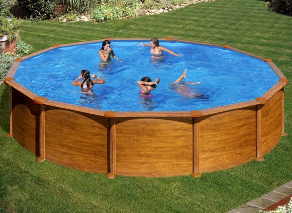 torrente piscine acier ronde veta aspect bois 550 x hauteur 120m toi. Black Bedroom Furniture Sets. Home Design Ideas