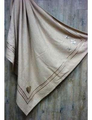PLAID écru en laine brodé