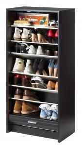 Meuble à Chaussures Noir Rideau