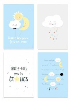 Kit de 4 affiches nuage