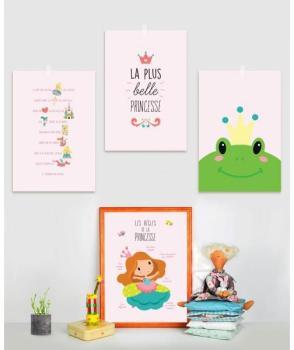 Kit de 4 affiches princesse