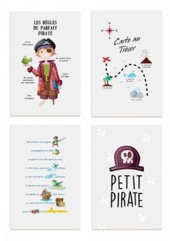 Kit de 4 affiches pirate