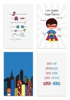 Kit de 4 affiches super-héros