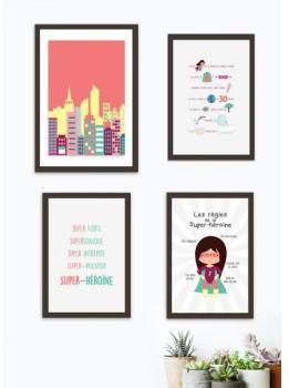 Kit de 4 affiches super-héroïne
