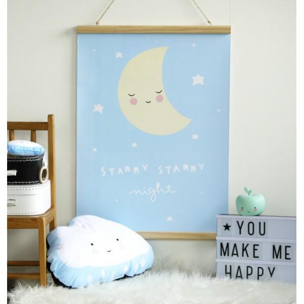Poster Lune Bleu