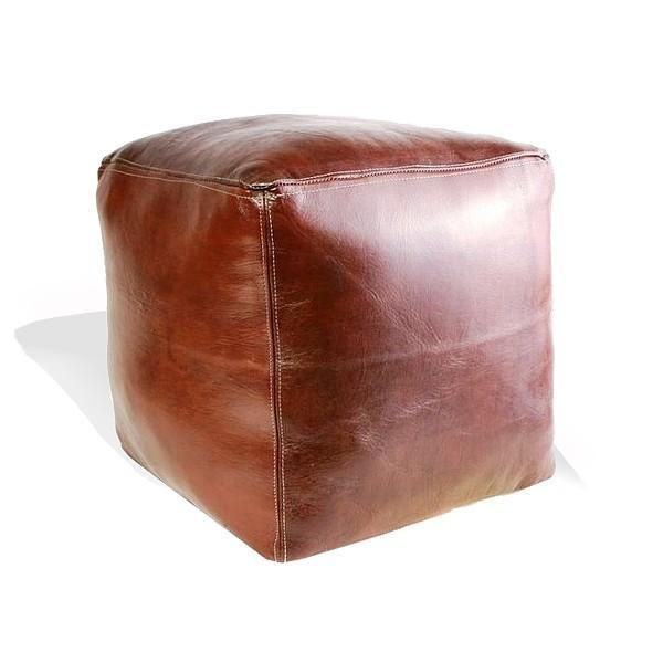Pouf marocain cube marron