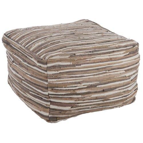 Pouf Carré Coton Recyclé Gris