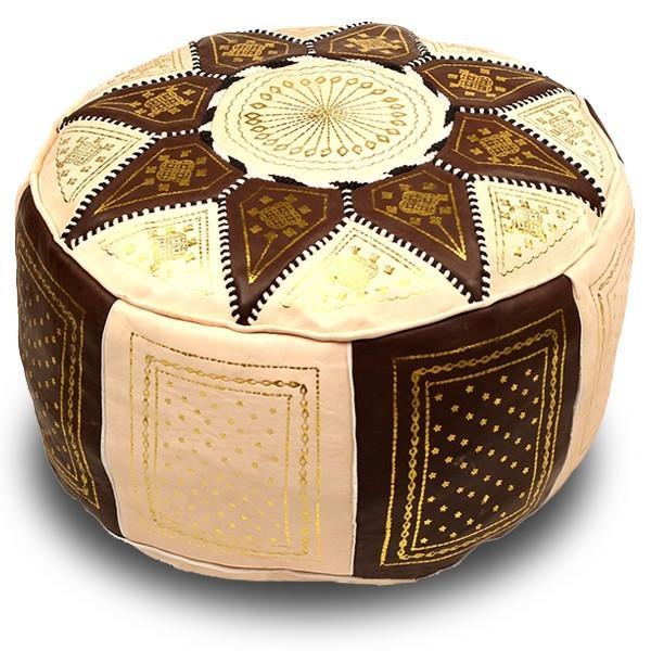 Pouf fassi en cuir ivoire