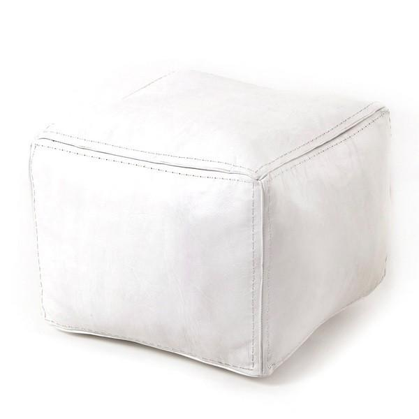 Pouf carré blanc en cuir surpiqué