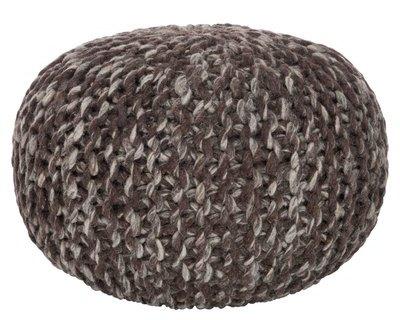Pouf Tricoté Coton Brun 35